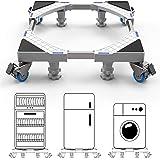 DEWEL Support de machine à laver avec 4 Roues et 4 Pieds Base de Réfrigérateur de sèche-linge Réglable 45cm-69cm Charge 300 k