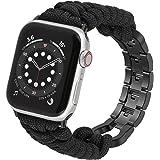 Wearlizer Correa de reloj de Paracord compatible con Apple Watch 42 mm 44 mm para iWatch Serie 6 5 4 3 2 1 SE, hecha a mano c