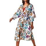 AiJump Women's Long Floral Kimono Dressing Gown Beach Bikini Cover-Ups Maxi Dress Plus Size Summer Robe