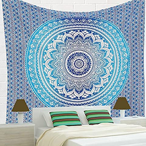 Indian-hippie-curtains Bohemian-psychedelic Ombre-mandala Wall-hanging-tapestry-blue