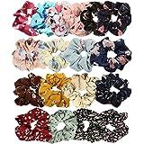 18 Pezzi Hair Scrunchies Chiffon Elastico per Capelli Cravatte Porta coda di Cavallo Scrunchy Fasce per Capelli per Donna Rag