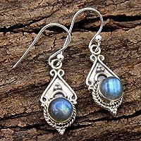 Orecchini pendenti in argento sterling con pietre preziose labradorite per donne e ragazze, orecchini con castone per…