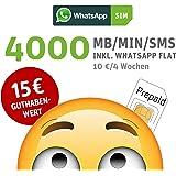 WhatsApp SIM Prepaid [SIM, Micro-SIM, nano-SIM] – startpakket met 15 EUR tegoedwaarde, zonder contractbinding, optie met 4000