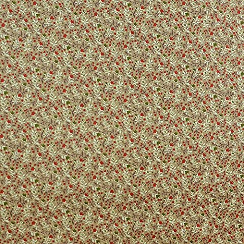 Quilting Patchwork Craft Fabric Cotton Poplin Flower Pattern in Brown by Fabric Freedom Top Quality 100% Cotton British Design for Sewing, Quilting & Patchwork Projects-Lovely Quilt Print for Bedding Curtains Furnishing Clothing Width 58