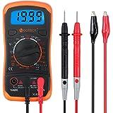 Neoteck Multimetro Digitale/Mini Multimetro Tester Misuratore Digitale Manual Range Test DMM DC Corrente AC DC Voltaggio Resistenza con LCD Retroilluminazione - Colore Arancione
