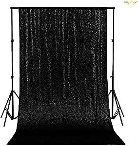 Shinybeauty Zurück Tropfen Schwarz Hintergrund Vorhang 300x305cm Kulissen Schwarz Glitter Hintergrund Eleganten Kulisse 10ftx10ft Küche Haushalt
