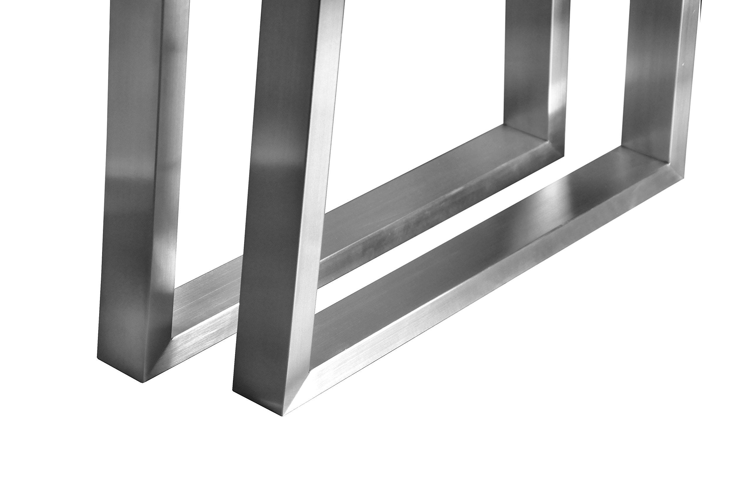 CHYRKA T-Tischgestell Edelstahl 201 60x30 Trapez Rahmentisch Kufengestell Tischkufe Tischuntergestell (720 x 500 mm - 1 Paar) 3