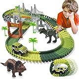 ACTRINIC Pista de Carreras Juguetes de Dinosaurios Mundo Jurásico 142 Pistas Flexibles Que Incluyen 2 Dinosaurios 1 Vehículo