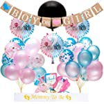 """Gender Reveal Party Supplies and Baby Shower Boy or Girl Kit - Including 36"""" Reveal Balloon, Confetti Balloons, Banner..."""