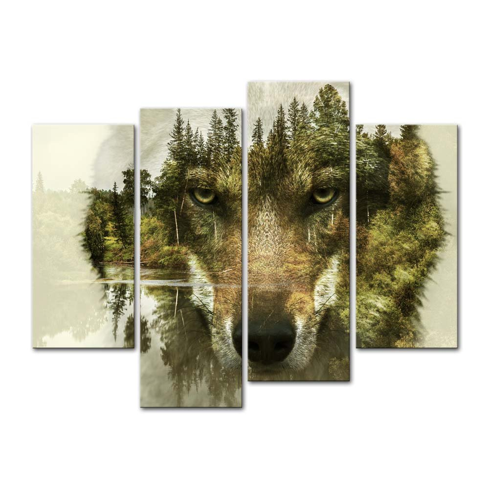 4 Pieces Modern Canvas Painting Wall Art The Picture For Home Decoration Wolf Pine Trees Forest Water Animal Print On Giclee Artwork