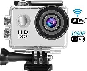 Action Kamera WiFi, SENDOW Sport Kamera 1080p Full HD 30M Tauchen IP68 Wasserdichte mit 170 ° Weitwinkel, Helmkamera Motorrad Kamera Action Cam Inklusive Kompletter Zubehör-Kits