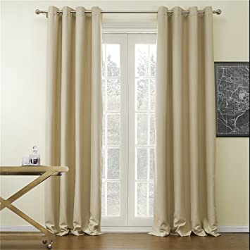 IYUEGO Wide Curtains 120Inch-300Inch for Large Windows Solid Beige ...