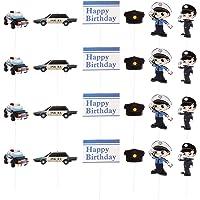 Cabilock Lot de 24 décorations de gâteau d'anniversaire sur le thème de la police pour cupcakes et desserts