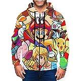 Super Smash Bros Mario Legend of Zelda Kirby Pikachu - Sudadera con capucha y bolsillo con cremallera para hombre
