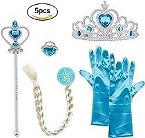 Vicloon Conjunto con Accesorios de Princesa del Hielo para Niña de 2-9 Años, Color Azul, 5 Piezas