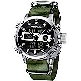 MEGALITH Montre Homme Digitale Militaire Montres Étanche Outdoor Sport LED Grand Cadran Montre Bracelet Digital et Analogique