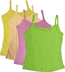 UCARE Girl's Pure Cotton Plain Camisole Slip (209, Multicolour, 10-12 Years) - Pack of 6