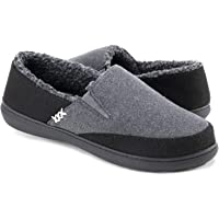 Zigzagger Men's Closed-Back Wool-Like Blend Elastic Inserts Slippers Indoor-Outdoor House Shoes