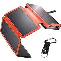 Solar Powerbank 26800mAh Solar Ladegerät Outdoor mit 4 Solarpanel Externer Akku Taschenlampe Kompass geeignet für Handy…