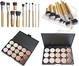 15 Farbe Makeup Concealer Palette +11stk Profi Pinsel Set Contour Kosmetik