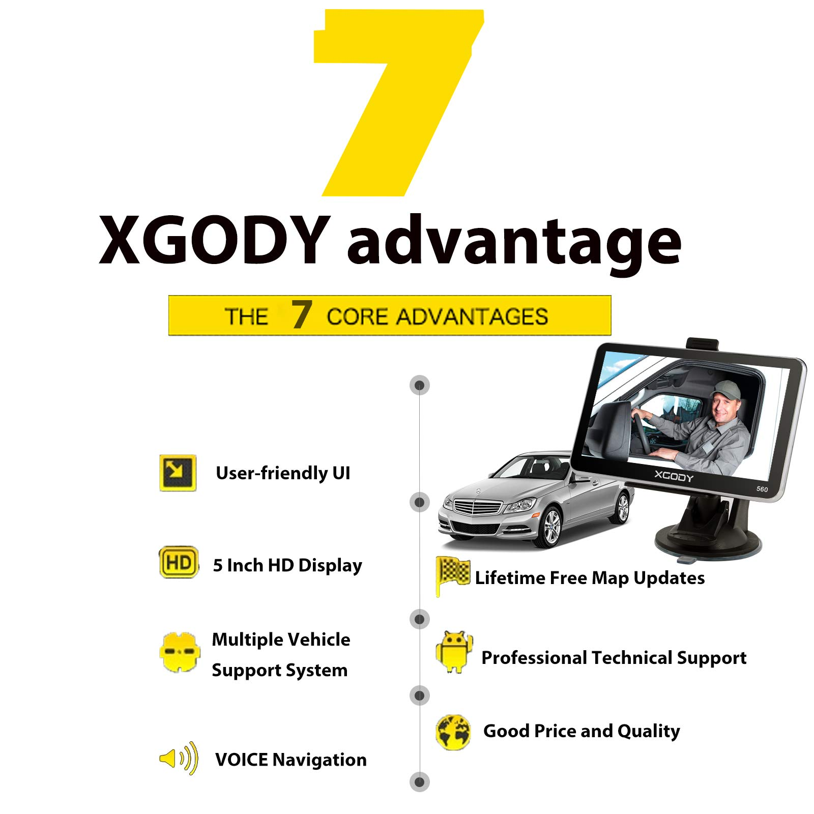 XGODY 560 SAT NAV GPS Navigation System 5 Inch Android 8GB 128MB Car Truck  Lorry Satellite Navigator with Post Code Search Speed Camera Alerts UK and