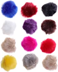 SUPVOX 12pcs Faux Fur Pom Poms DIY Fluffy Ball for Knitting Hats Scarves Bags Charms