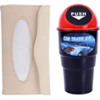 Store2508® Combo of Car Tissue Holder & Car Trash Bin, Beige