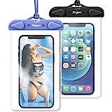 Migeec wasserdichte Handyhülle (2 Stück) IPX8 iPhone 12 11 Pro XS,Samsung bis zu 7.0 Zoll,Schwarz+ Blau