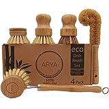 ARYA. | Eco Dish Brush Set | 4 Kitchen Washing Up Brushes & One Replacement Head | Bamboo & Natural Fibers | Eco…