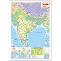 India Physical Map (English) (Size 70 X 100 Cms) Without Pvc Rollers Educational Chart Classroom Chart School Chart