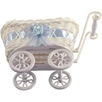 Mini Pram Baby Baskets and Favours! Hamper Shower Stroller Vintage Craft[Blue,Small Pram]