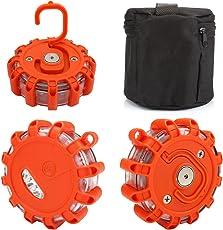 ACBungji Warnblinkleuchte LED Warnleuchte Warnlicht Akku Blinklicht Rundumleuchte Orange mit Magnet Haken für Auto Notfall Pannenhilfe Wasserdicht IP65 ideal als Ergänzung zum Warndreieck (3 Stück mit Aufbewahrungstasche)