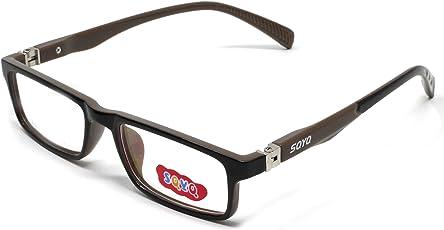 Fusine™ Eye Wear Specs Full Rim Shell Unisex Spectacles Children Frames for Distant Power Vision & Reading Glasses for Kids(boys & girls ) (Black-Brown)