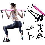 Barra per Pilates Fitness con Fascia di Resistenza, Attrezzi da Palestra da Palestra Casa Multifunzionale, Pilates Stick per