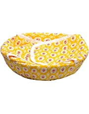 Titox Cotton Cloth Basket, Washable with Chain, Traditional Roti Rumals with Assorted Colour -9 x 24 x 24 cm