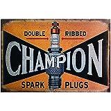 Kustom Factory Placa de acero para garaje con vela Champion