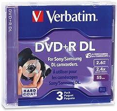 Verbatim 2.6 GB 2.4X Mini Double Layer Recordable Disc DVD+R DL, 3-Disc Jewel Case 95313