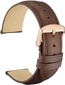 WOCCI Retrò Cinturino in Pelle con Fibbia in Oro Rosa, Cinturini di Ricambio 14mm 16mm 18mm 19mm 20mm 21mm 22mm