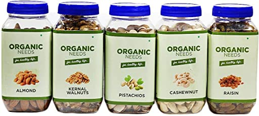 Combo Pack of Dry Fruits 1.2 KG - Almonds 250 Grams, Kernel Walnuts 200 Grams, Raisin 300 Grams, Cashew Nuts 250 Grams and Pistachios 200 Grams - Organic Needs