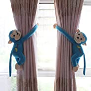 Pair of 30cm with 0-14 cm diameter with velcro closure monkey curtain soft toy style kids kid baby babies room tie back