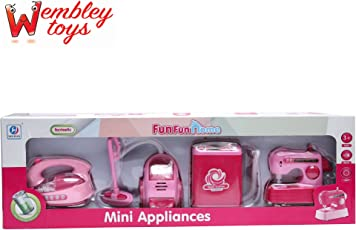 Wembley Fun Home Utility Household 4 in 1 Appliances Battery Operated Play Set with Light & Sound for Girls (Pink)