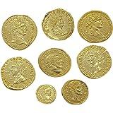 Eurofusioni Römische antike Münzen - Vergoldetes Metall - Set 8 Stück