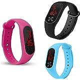 Friedrich Digital Boy's & Girl's Watch (Black, Pink & Sky Coloured Strap) (Pack of 3)