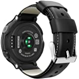 MoKo Bracelet pour Garmin Forerunner 235/235 Lite/220/230/620/630/735XT/Approach S20/S6/S5, Classique en Cuir Bande de Montre