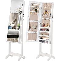 LUXFURNI Armoire à Bijoux à LED avec Miroir verrouillable et Grand Organiseur de Rangement avec tiroirs (Lvoire)