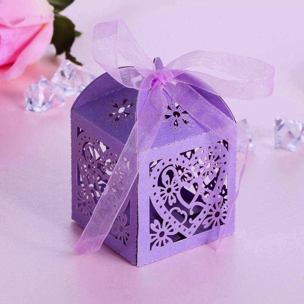 JZK� 50 x Scatoline scatole perlato portaconfetti bomboniere segnaposto per matrimonio compleanno b
