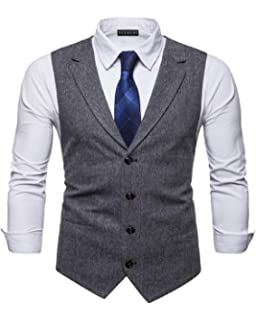 YCUEUST Homme Tweed Single-Breasted Classique Gilets Parti Formal Waistcoat  Suit Vest fd93efebe2a