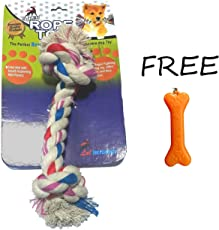 Goofy Tails Cotton Rope Toy with Key Chain, Multi Color, 100 g (Medium)