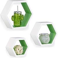 Relaxdays 10021897_252 Étagère flottante suspendue lot de 3 cubes support mural meuble rangement bois, blanc vert, MDF…