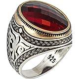 خاتم للرجال مصنوع يدويًا من الفضة الإسترلينية الصلبة عيار 925 مرصّع بأحجار زركونيا المكعبة بلون الياقوت بتصميم تركي فاخر